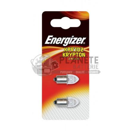 Ampoule Krypton ENERGIZER KPR102 - Culot lisse préfocus - 2,4V - 0,7A - Lot de 2 ampoules