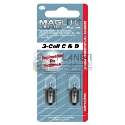 Ampoule Krypton MAGLITE pour torche MAGLITE ML3, LCL3 - 3D, 3C - Culot lisse préfocus - Lot de 2 ampoules